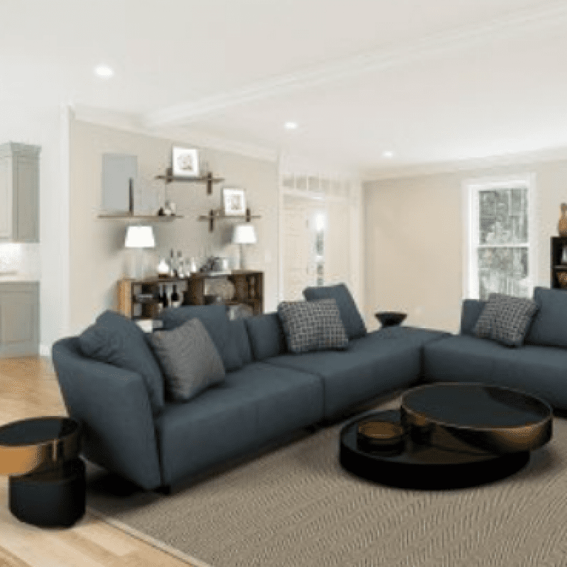 living room with black sectional